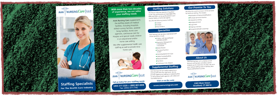 AAA Nursing Care Trifold Brochure