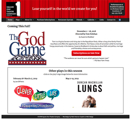 Square One Theatre Company Web Screenshot
