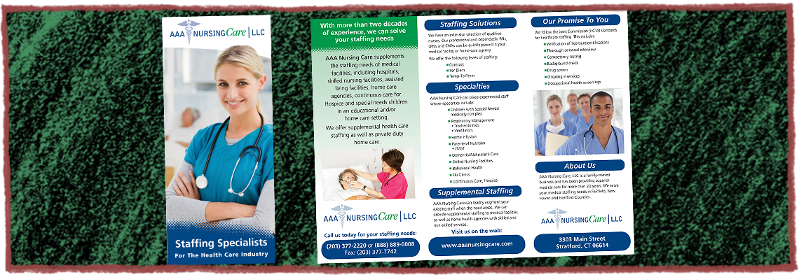 AAA Nursing Care Tri-Fold Brochure